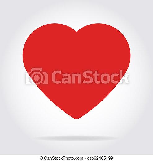 szív, lakás, árnyék, style., piros, ikon - csp62405199