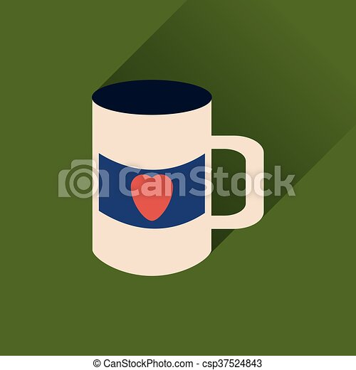 szív, lakás, csésze, hosszú, háló, árnyék, ikon - csp37524843