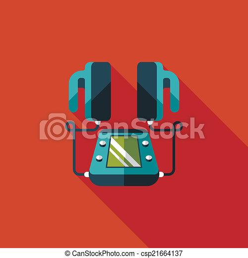szív, lakás, hosszú, defibrillator, árnyék, ikon - csp21664137