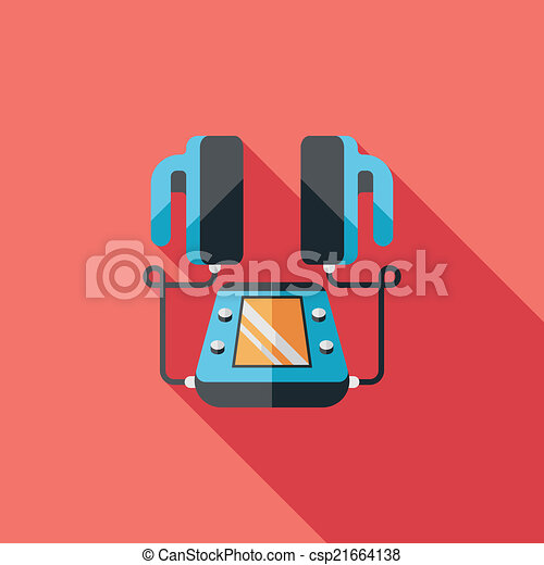 szív, lakás, hosszú, defibrillator, árnyék, ikon - csp21664138