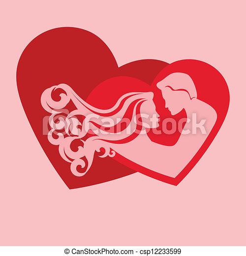 szív, párosít, árnykép - csp12233599