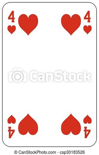 szív, piszkavas, játék kártya, 4 - csp30183526
