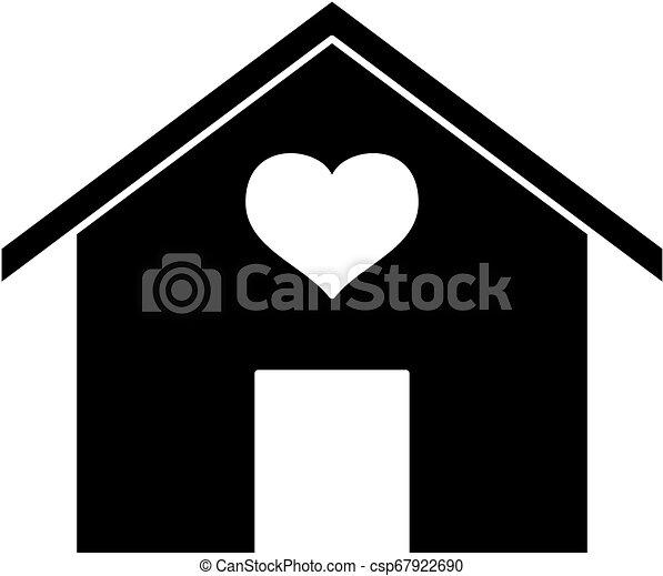 szív, silhouette., ikon, épület - csp67922690