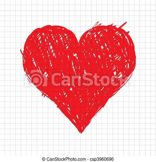 szív, skicc, alakít, tervezés, -e, piros - csp3960696