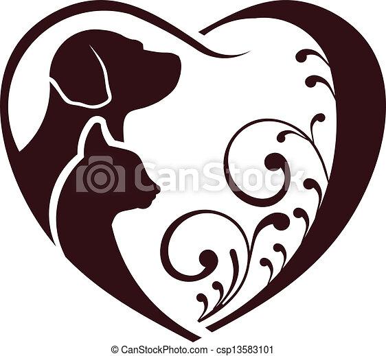 szív, szeret, kutya, macska - csp13583101