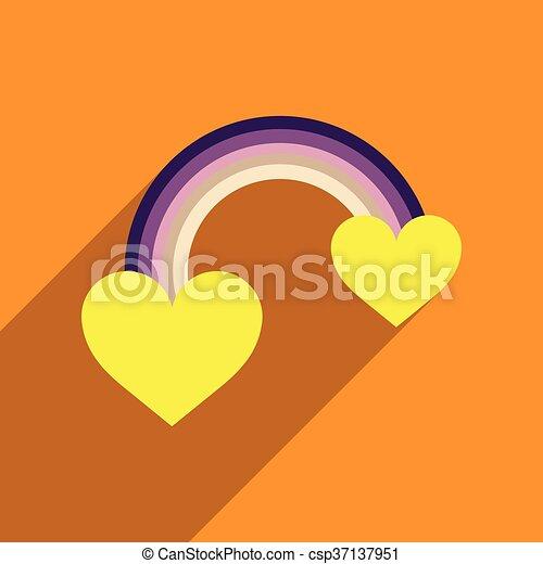 szív, szivárvány, lakás, hosszú, háló, árnyék, ikon - csp37137951