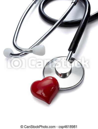 szív, törődik, szerszám, egészség, orvosság, sztetoszkóp - csp4618981