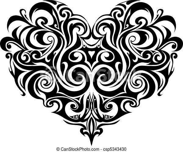 szív, törzsi, tetovál - csp5343430