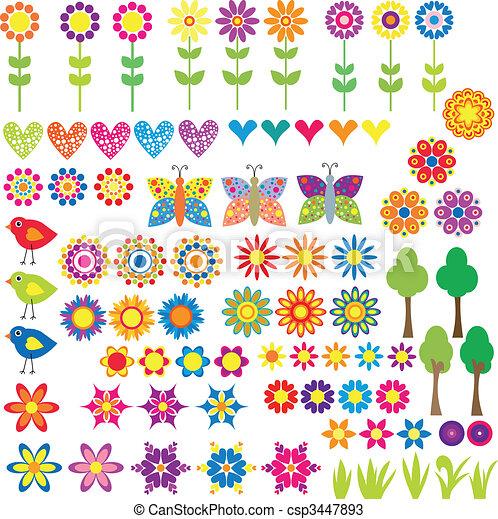 szív, virág, állat, gyűjtés - csp3447893