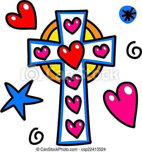 szórakozottan firkálgat, húsvét, kereszt, karikatúra - csp22413524