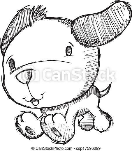 szórakozottan firkálgat, rajz, skicc, kutyus, kutya - csp17596099