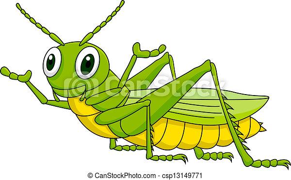 szöcske, zöld, karikatúra - csp13149771
