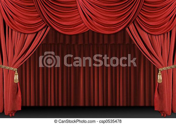 szövettel bevon, színház, háttér, fokozat - csp0535478