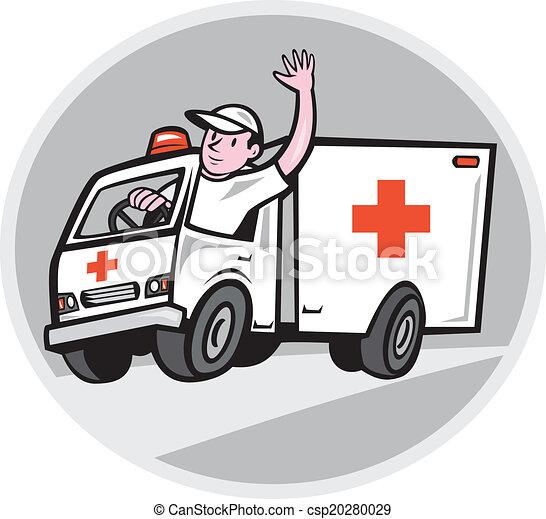 szükséghelyzet, metőautó driver, hullámzás, jármű, karikatúra - csp20280029