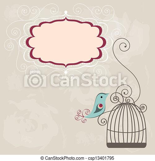 szüret, keret, wih, birdcage - csp13401795