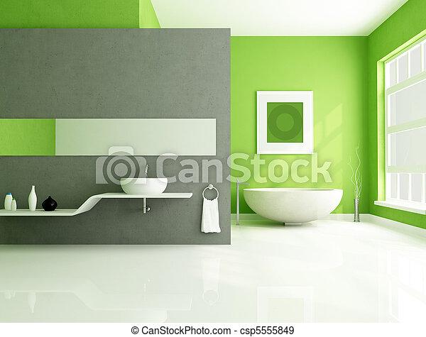 szürke, fürdőszoba, zöld, kortárs - csp5555849