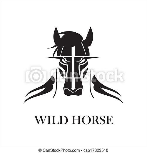szőrös, vad ló, fekete - csp17823518