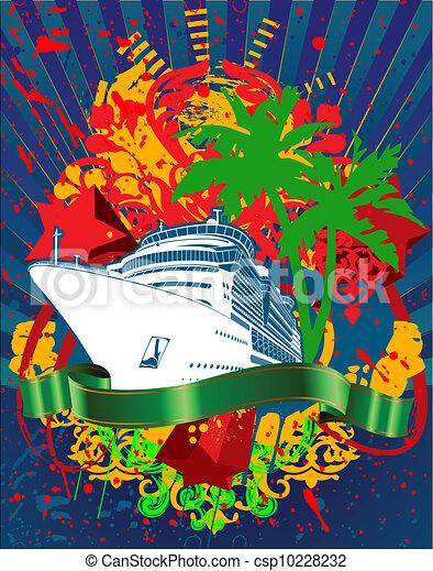 személyszállító hajó, óceán, loccsanás, zöld, cirkálás, transzparens - csp10228232
