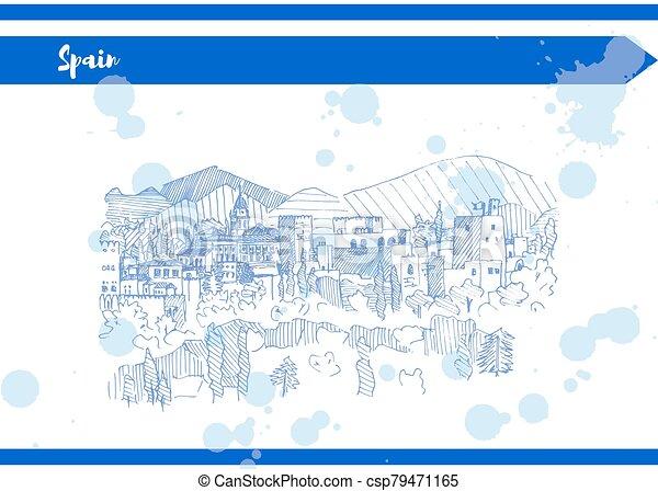 személyszállító hajó, blue hegy, skicc, spanyolország, vektor, bástya - csp79471165