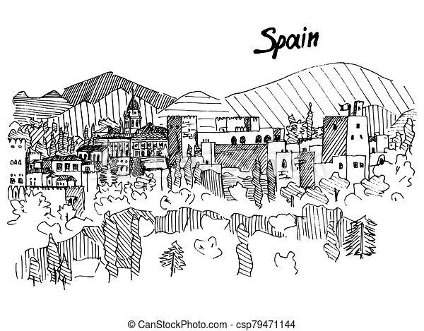 személyszállító hajó, hegy, skicc, spanyolország, vektor, bástya - csp79471144