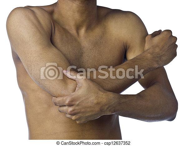 szenvedés, ember, fáj, fiatal, kar - csp12637352