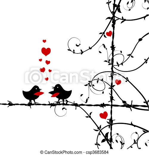 szeret, madarak, elágazik, csókolózás - csp3683584