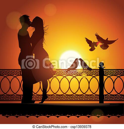 szeret, párosít, árnykép, napnyugta, csókolózás - csp13939378