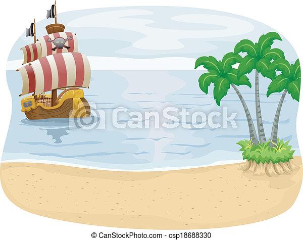 sziget, hajó, kalóz - csp18688330