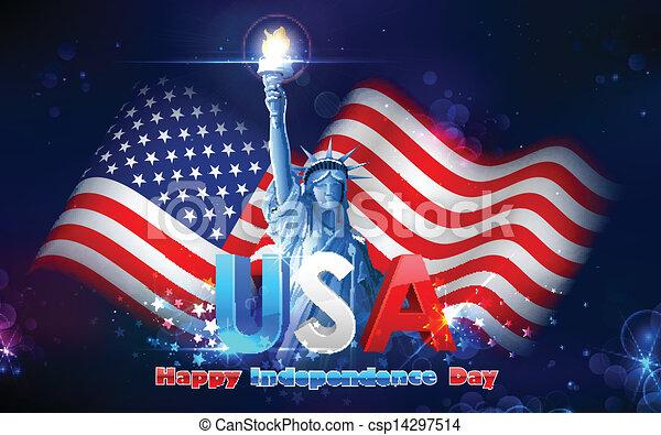 szobor, lobogó, amerikai, szabadság - csp14297514