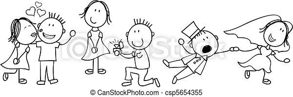 sztori, esküvő, bizottság, karikatúra - csp5654355
