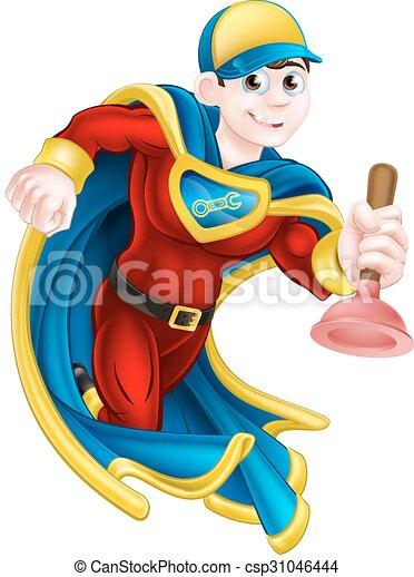 szuper, vízvezeték szerelő, hős - csp31046444