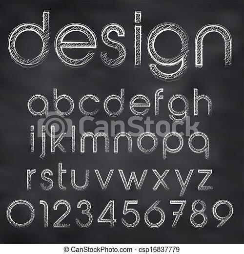 tábla, elvont, ábra, kréta, vektor, sketched, betűtípus - csp16837779