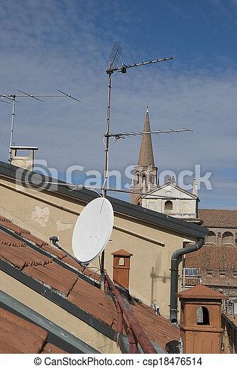 tál, mellékbolygó, tető, antenna - csp18476514