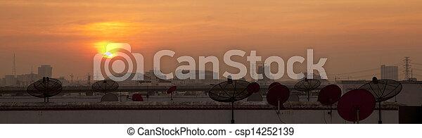 tál, város, mellékbolygó, napnyugta - csp14252139
