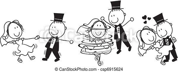 táncol, először, karikatúra, esküvő - csp6915624