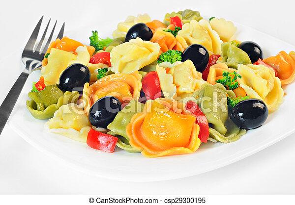 tányér, elkészített, saláta, bors, olajbogyó, brokkoli, piros, tortellini - csp29300195