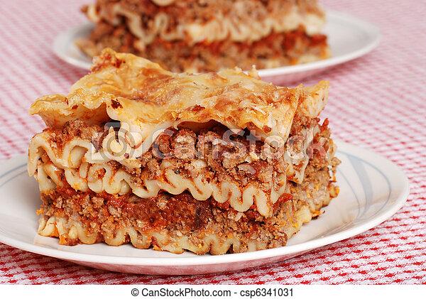 tányér, lasagna - csp6341031