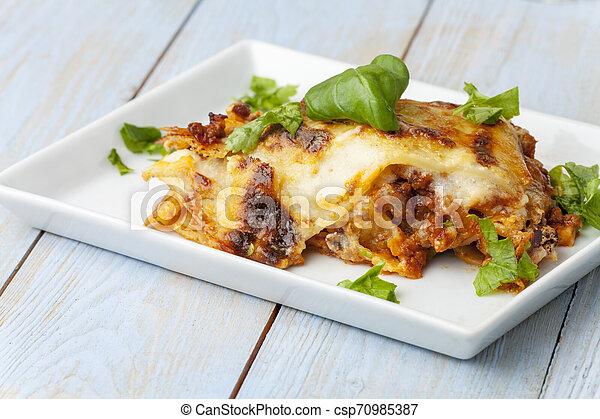 tányér, olasz, lasagna, friss - csp70985387