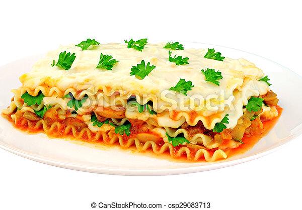 tányér, szelet, lasagna, finom - csp29083713