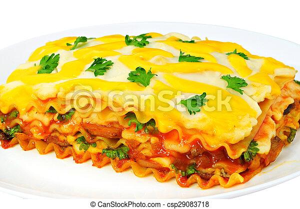 tányér, szelet, lasagna, finom - csp29083718