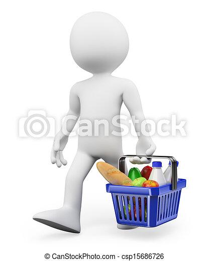 táplálék bevásárlás, emberek., egészséges, 3, fehér - csp15686726