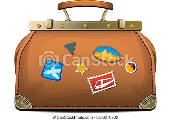 táska, ódivatú, (valise), utazás - csp6270702