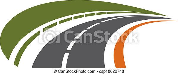 távolság, görbítő, tarred, út, hátráló - csp18820748