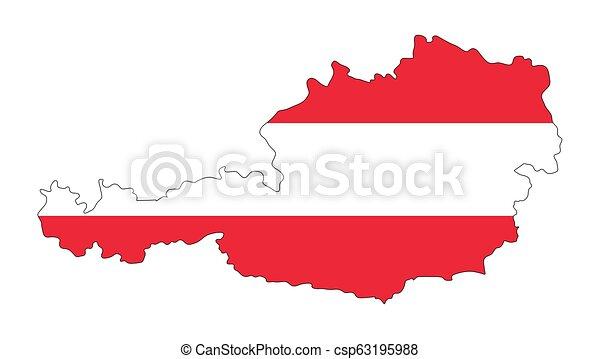 térkép, ausztria, elszigetelt, lobogó, tervezés, háttér, fehér - csp63195988