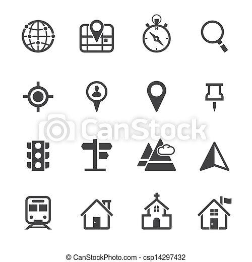 térkép, elhelyezés, ikonok - csp14297432