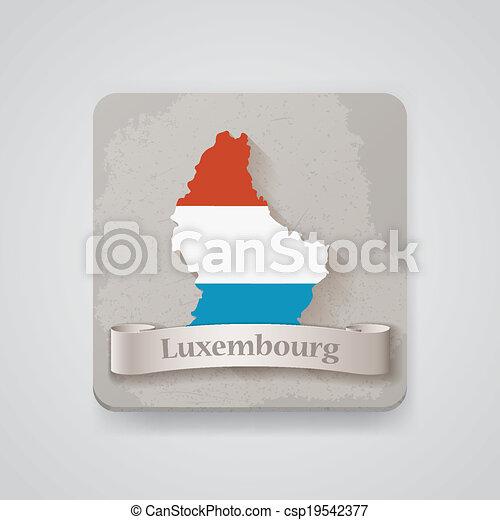 térkép, flag., ábra, vektor, luxemburg, ikon - csp19542377