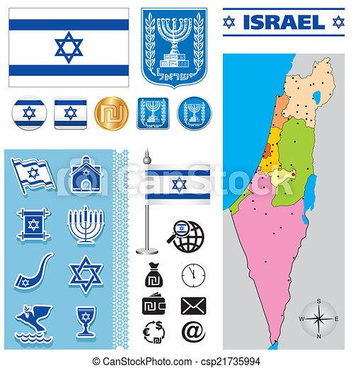 térkép, izrael - csp21735994