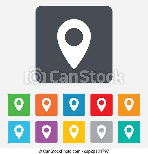 térkép, jelkép., elhelyezés, icon., mutató, gps - csp20134797