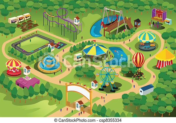 térkép, liget, szórakozás - csp8355334