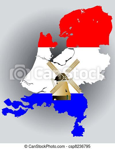 térkép, lobogó, befest, hollandia - csp8236795